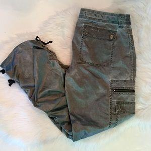 Express Satin Pewter Cargo Pants, 12